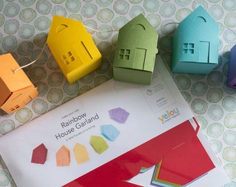Rainbow Garland: House Garland Papercraft Kit, DIY Home Decor, Paper Projects, Crafts for Kids