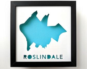 Roslindale, Boston Neighborhood. Framed Cut Paper City Map Shadowbox Artwork