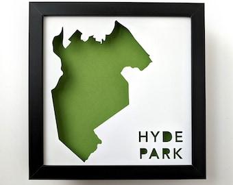 Hyde Park, Boston Neighborhood. Framed Cut Paper City Map Shadowbox Artwork