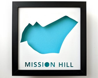 Mission Hill, Boston Neighborhood. Framed Cut Paper City Map Shadowbox Artwork