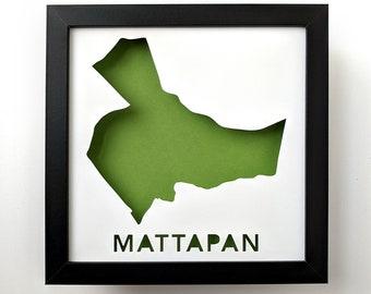 Mattapan, Boston Neighborhood. Framed Cut Paper City Map Shadowbox Artwork