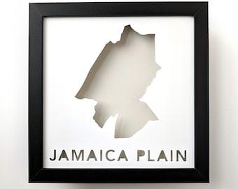 Jamaica Plain, Boston Neighborhood. Framed Cut Paper City Map Shadowbox Artwork