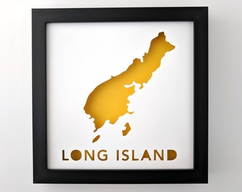 Long Island, Maine. Framed Cut Paper City Map Artwork