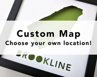 Custom Paper Place - Framed, cut paper map of city or place of your choice
