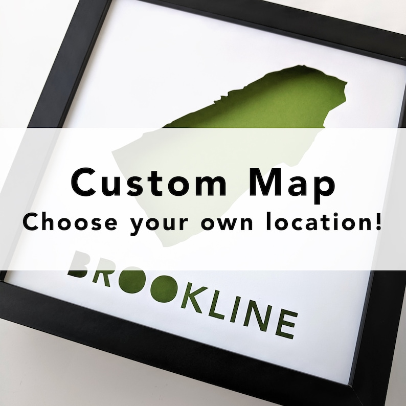 Custom Paper Place  Framed cut paper map of city or place of image 0