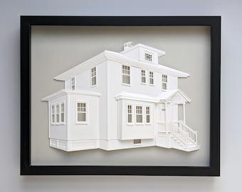Custom House Portrait Made of Paper // Framed Original Artwork