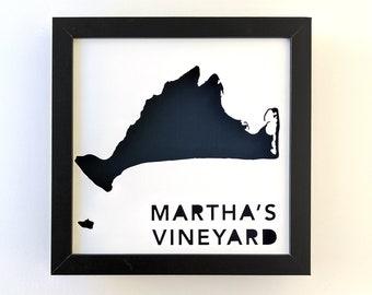 Martha's Vineyard, Massachusetts. Framed Cut Paper Map Shadowbox Artwork