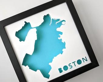 Boston, Massachusetts. Framed Cut Paper City Map Shadowbox Artwork