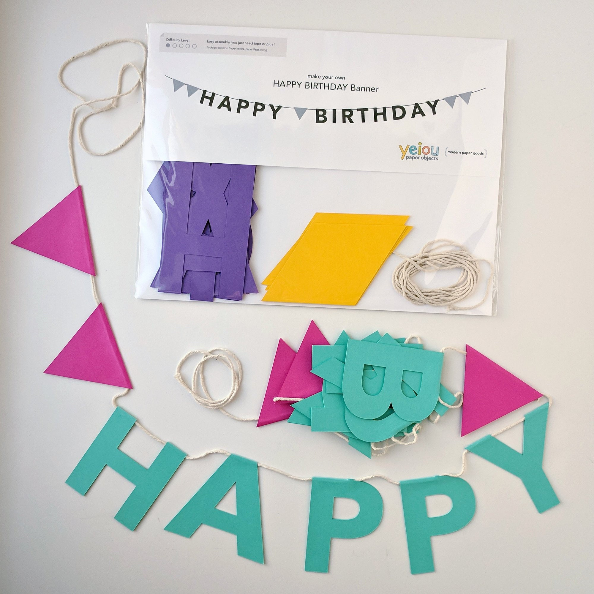 happy birthday diy paper banner kit choose your own colors etsy