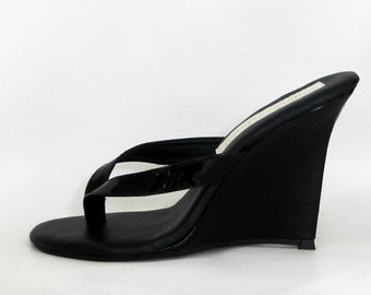 4 inch Handmade Black Patent Thick Thong Mule High Heel Wedge Foot Fetish Sandals  Woman Shoes