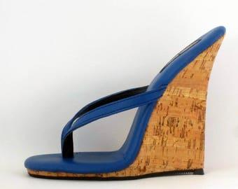 5 inch Handmade Blue / Cork Thin Thong Mule High Heel Wedge Foot Fetish Sandals  Woman Shoes
