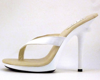 97a9a0dc4 5 inch White Leather Thick Thong Foot Fetish Mule High Heel Flip Flop  Sandals Woman Shoes