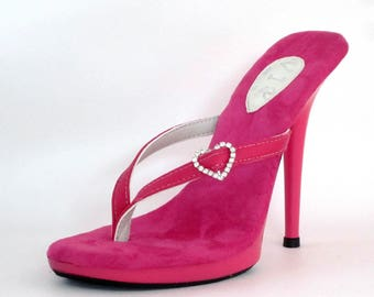 fc89c8fa918934 5 inch Pink Heart Rhinestone Leather Thin Thong Foot Fetish Mule High Heel  Flip Flop Sandals Woman Shoes