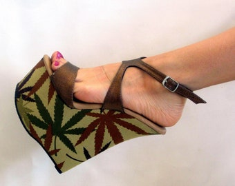989c27c0609 7 inch Copper Brown Marijuana Sandal Ankle Strap Wedge High Heel Platform  Woman Stripper Shoes