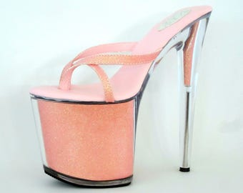 39816744a 8 inch Peach Glitter Filled Thin Thong Mule Stiletto High Heel Platform  Woman Foot Fetish Stripper Shoes