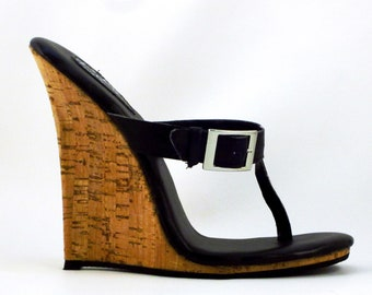 5 inch Handmade Black / Cork Buckle Drop Thong Mule High Heel Wedge Foot Fetish Sandals  Woman Shoes