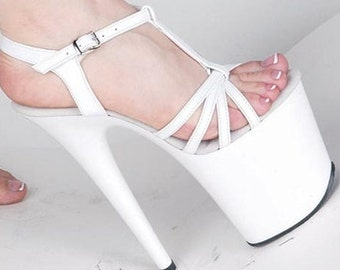 895d23838 8 inch Handmade White Leather Strappy Ankle Strap Stiletto High Heel  Platform Woman Stripper Shoe