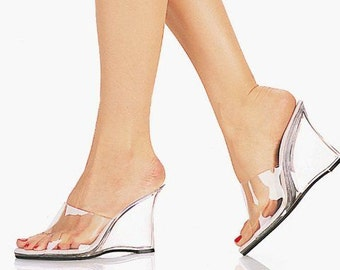 4 inch Handmade Clear Bikini Fitness Competition Mule High Heel Wedge Sandals Woman Shoes