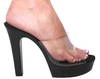 d2a6def1988de7 5 inch Clear   Black Vinyl Chunky Mule Open Toe High Heel Sandals Woman  Stripper Shoes