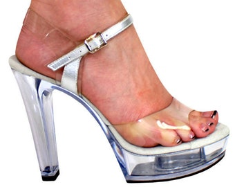 f828b0ee721 5 inch Clear Chunky Ankle Strap Fitness Bikini Competition High Heel Sandals  Woman Shoes