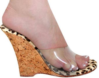 VIP 4 inch Handmade Clear Leopard Cork  Mule Slip On High Heel Wedge Sandals Woman Shoes