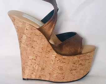 aa2e6a26e13a 7 inch Copper Brown   Cork X Ankle Strap Wedge High Heel Platform Woman  Foot Fetish Stripper Shoes