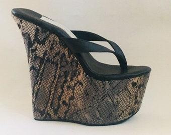 ae999d989400c7 7 inch Black Leather   Snake Print Thong Mule Wedge High Heel Platform  Woman Foot Fetish Shoes