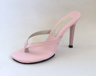 1a6bb7097e3 4 inch Handmade Shell pink Leather thin thong Foot Fetish Mule High Heel  Flip Flop Sandals Woman Shoes