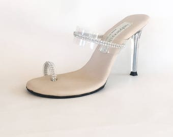 f0012011ee2a VIP 4 inch Handmade Clear Rhinestone Toe Ring Foot Fetish Mule High Heel  Flip Flop Sandals Woman Shoes