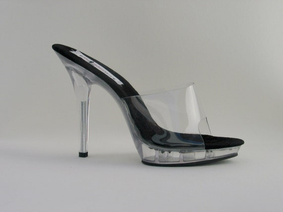 e4c2b327fd10e 5 inch Clear Mule with Black Insole High Heel Bikini Fitness Competition  Sandals Slip on Shoes