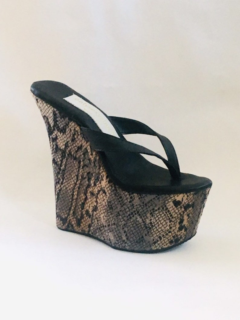 5671f28fbf0f6 7 inch Black Leather   Snake Print Thong Mule Wedge High Heel