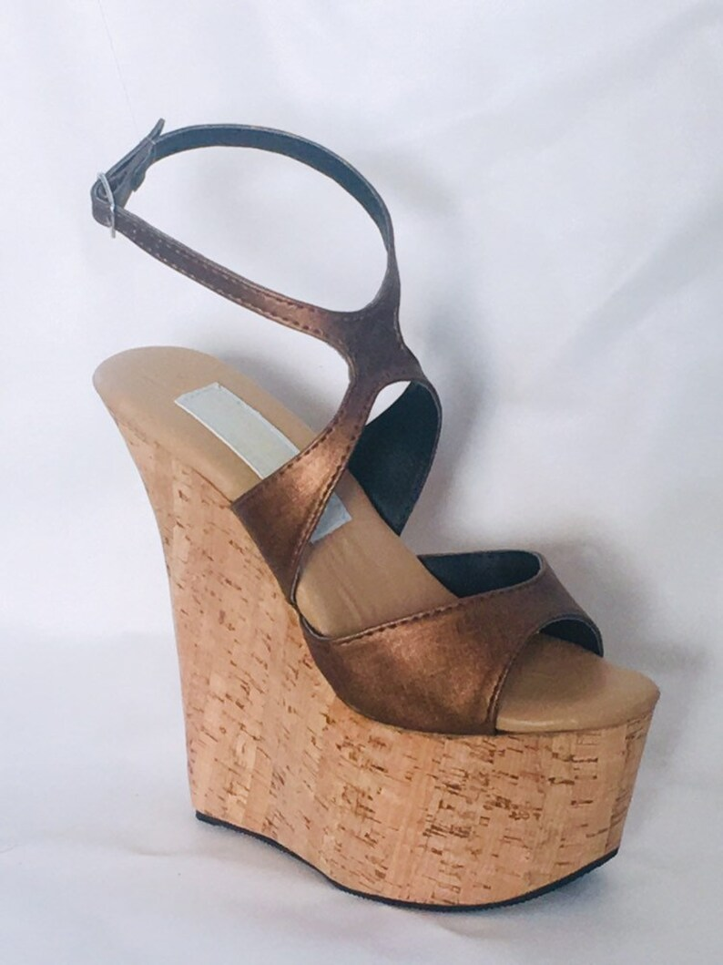 7d9b9d88db2 7 inch Copper Brown   Cork X Ankle Strap Wedge High Heel