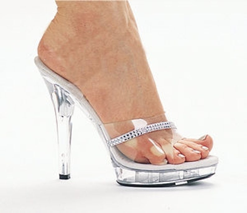 e3caaa5eefde1 5 inch Clear Mule with Rhinestones Bikini Fitness Competition High Heel  Sandals Open Toe Woman Shoes