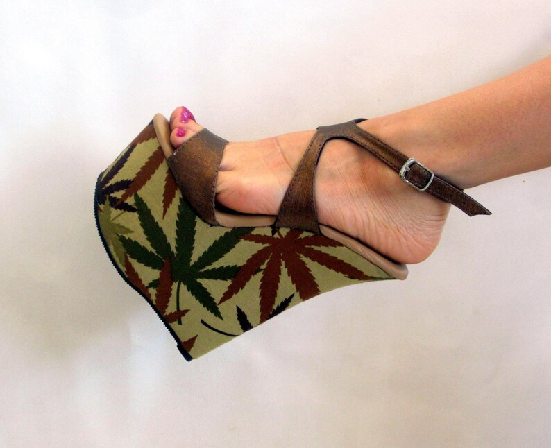 21a159345a8 7 inch Copper Brown Marijuana Sandal Ankle Strap Wedge High