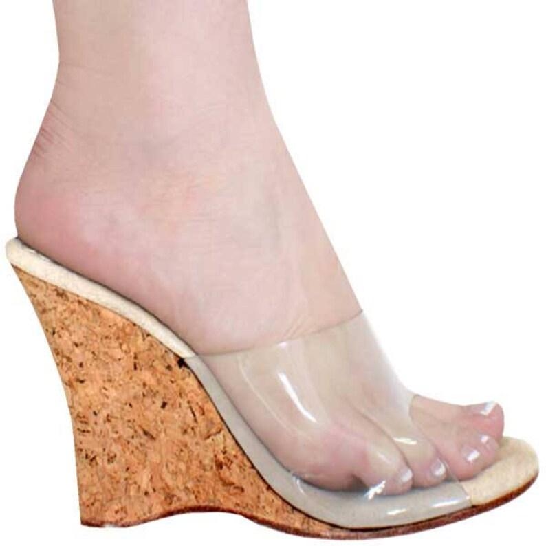 8d5c663c29df 4 inch Clear Mule Cork Wedge Slip On High Heel Open Toe