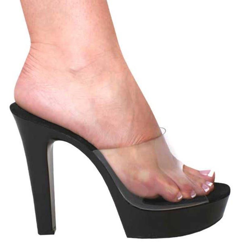 3ebd7901a87 5 inch Clear   Black Vinyl Chunky Mule Open Toe High Heel