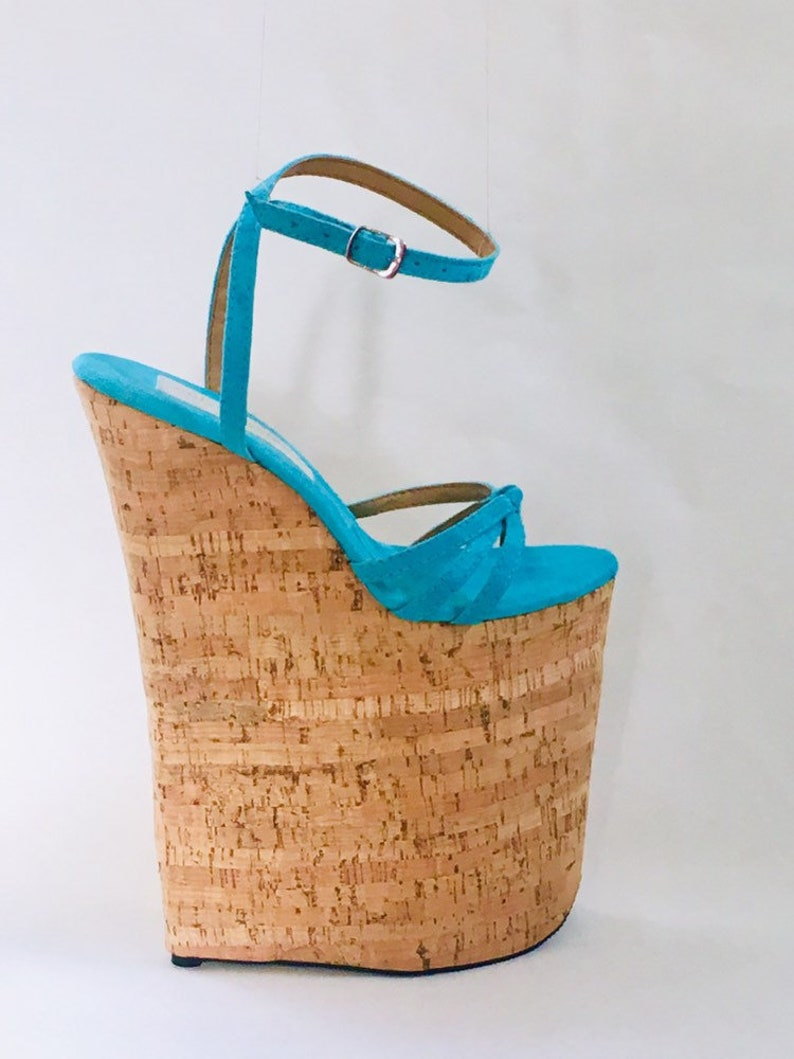 da77d7b474b 10 inch Aqua / Cork Knot Loop Ankle Strap Wedge Sandal High Heel Platform  Woman Extreme Fetish Shoes