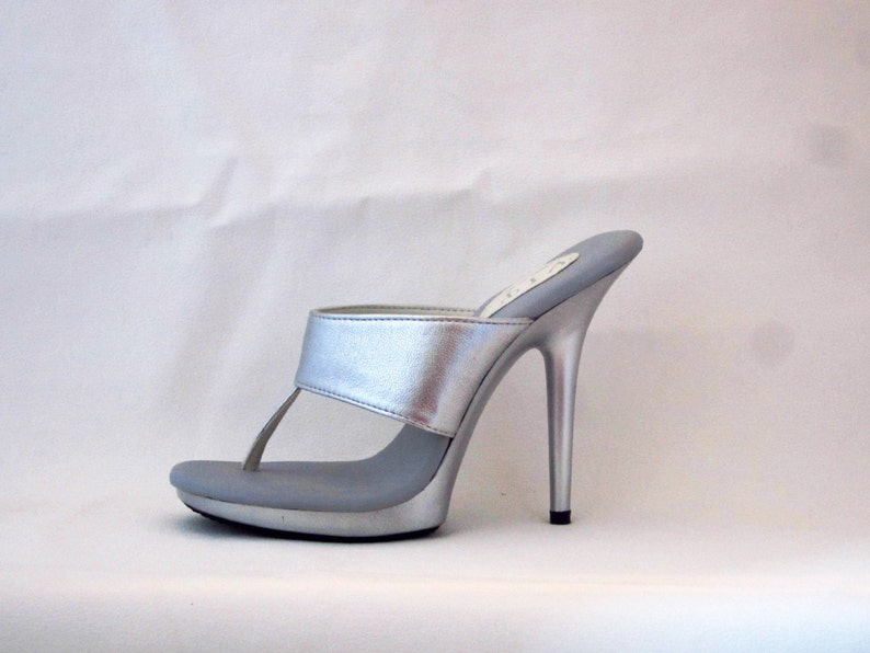 d13a1d6ff 5 inch Silver Leather Straight Band Thong Foot Fetish Mule