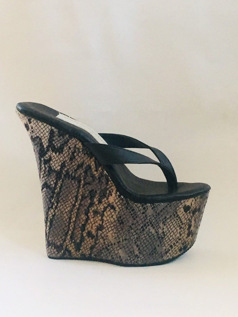 e2266110256f 7 inch Black Leather   Snake Print Thong Mule Wedge High Heel