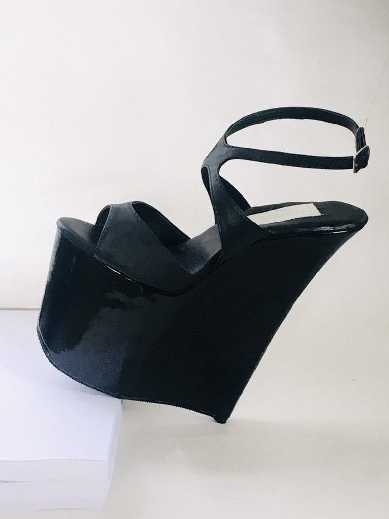 2d13a59f68a 8 inch Black Leather Ankle Strap Sandal with Black Patent High