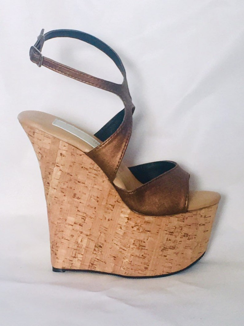 aa58d1d89aecd 7 inch Copper Brown   Cork X Ankle Strap Wedge High Heel