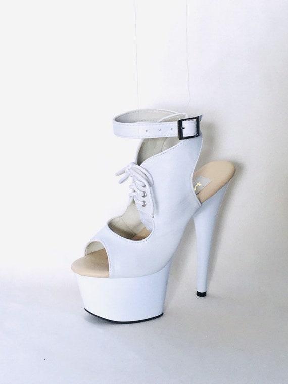 7 inch White Lace Up Peep Toe Ankle Strap Boot High Heel Platform Woman Stripper Shoes