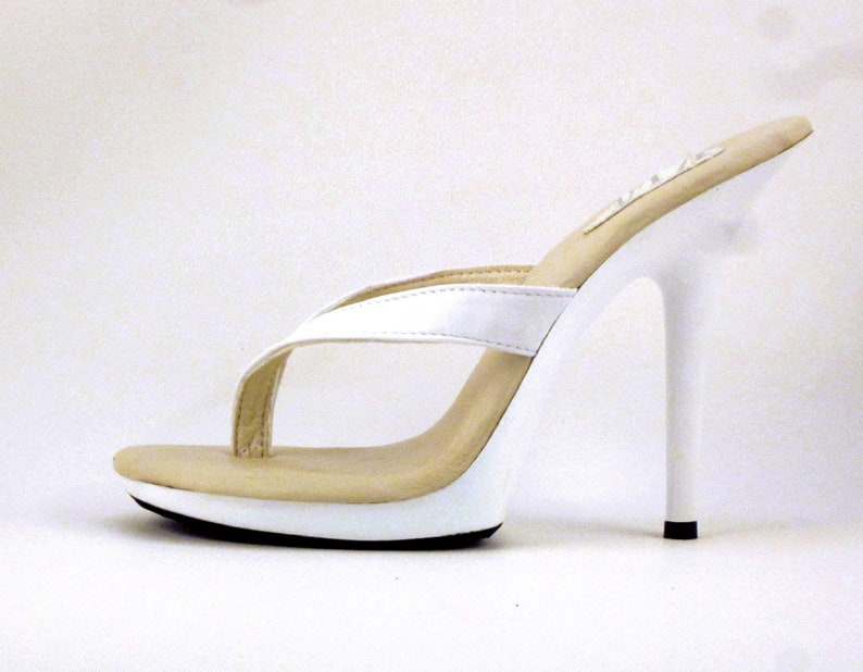 b3ba00b83 5 inch White Leather Thick Thong Foot Fetish Mule High Heel