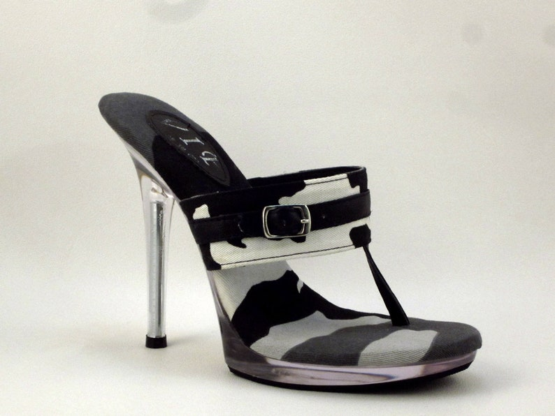 7d4799f3f5e7a 5 inch Handmade Black and White Camouflage Straight Band Thong Foot Fetish  Mule High Heel Flip Flop Sandals Woman Shoes