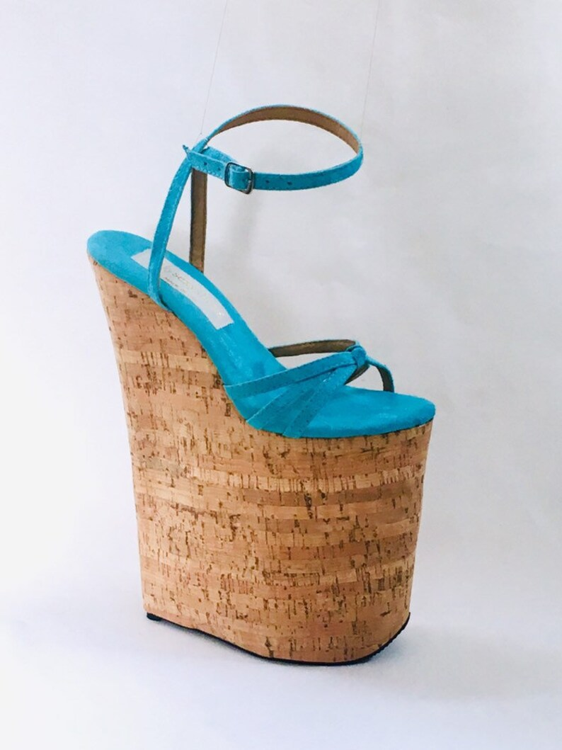 1336e8c4dbd 10 inch Aqua   Cork Knot Loop Ankle Strap Wedge Sandal High