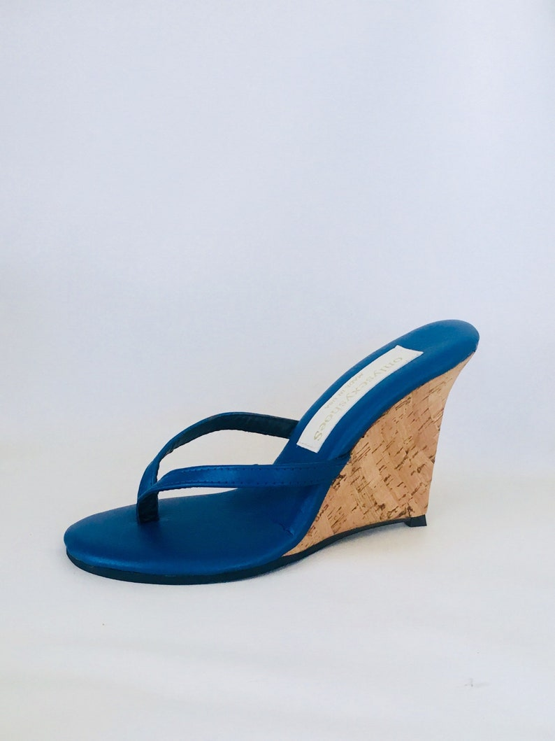 88cdcaee6f32 4 inch Blue Leather Thin Thong Foot Fetish Mule Cork Wedge