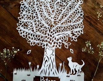 Family Tree paper cut- Personalized Family tree - Hand cut family Tree paper cut - Custom family tree - Family Tree Frame - Family Tree