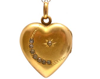 Victorian Heart Moon Star Locket
