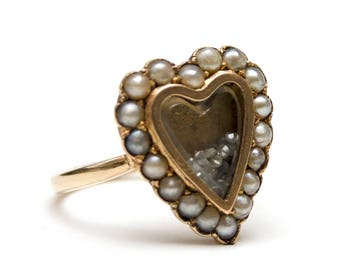 SALE*** 9k Victorian Heart Diamond Shake Locket Ring