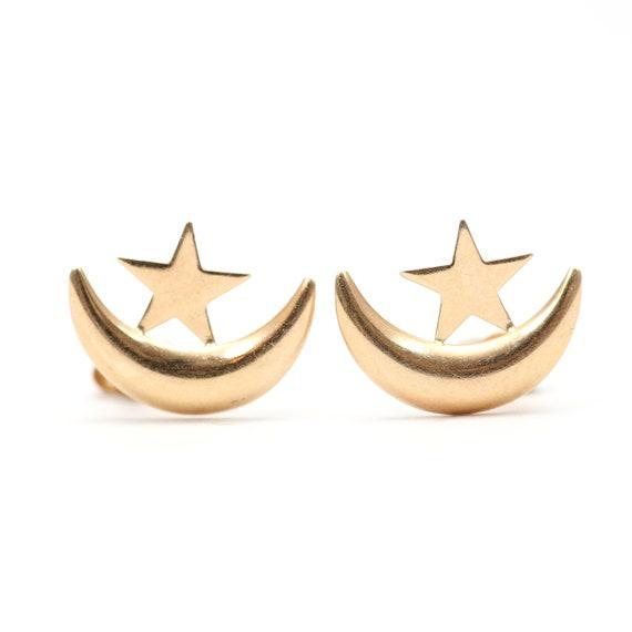 14k Moon and Star Earrings